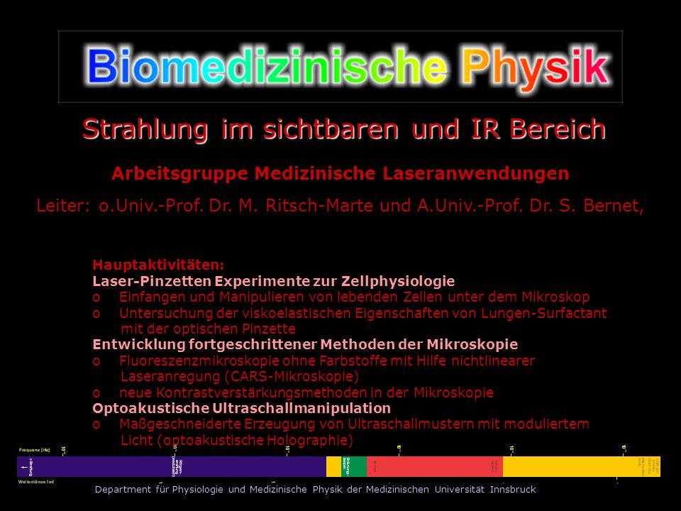 Department für Physiologie und Medizinische Physik der Medizinischen Universität Innsbruck Prinzip der optischen Pinzette Transparente Objekte können im Fokus eines Laserstrahls gefangen werden, da die Brechung der Lichtstrahlen Reaktionskräfte hervorruft, die das Objekt zum Ort maximaler Lichtintensität ziehen.