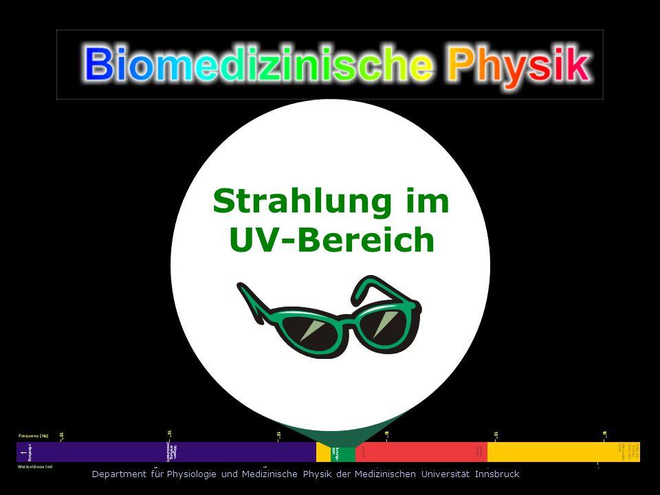 Department für Physiologie und Medizinische Physik der Medizinischen Universität Innsbruck Strahlung im UV-Bereich Arbeitsgruppe UV-Strahlung: Leiter: A.Univ.-Prof.