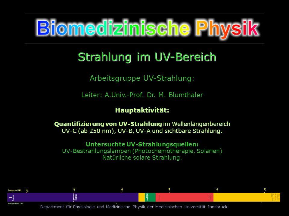Department für Physiologie und Medizinische Physik der Medizinischen Universität Innsbruck Strahlung im UV-Bereich Arbeitsgruppe UV-Strahlung: Leiter: