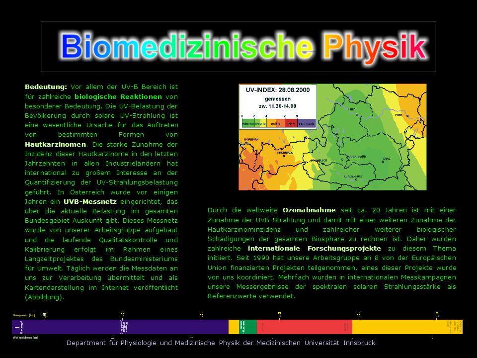 Department für Physiologie und Medizinische Physik der Medizinischen Universität Innsbruck Bedeutung: Vor allem der UV-B Bereich ist für zahlreiche bi
