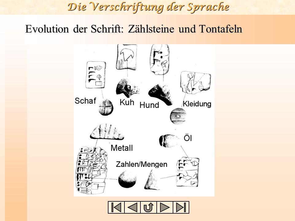 Die Verschriftung der Sprache Evolution der Schrift: Zählsteine und Tontafeln