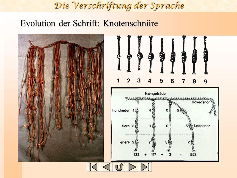 Die Verschriftung der Sprache Evolution der Schrift: Knotenschnüre