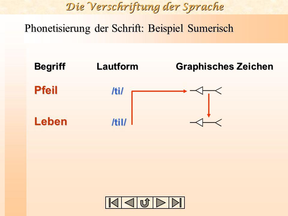 Die Verschriftung der Sprache Phonetisierung der Schrift: Beispiel Sumerisch BegriffLautform Graphisches Zeichen Pfeil /ti/ Leben /til/