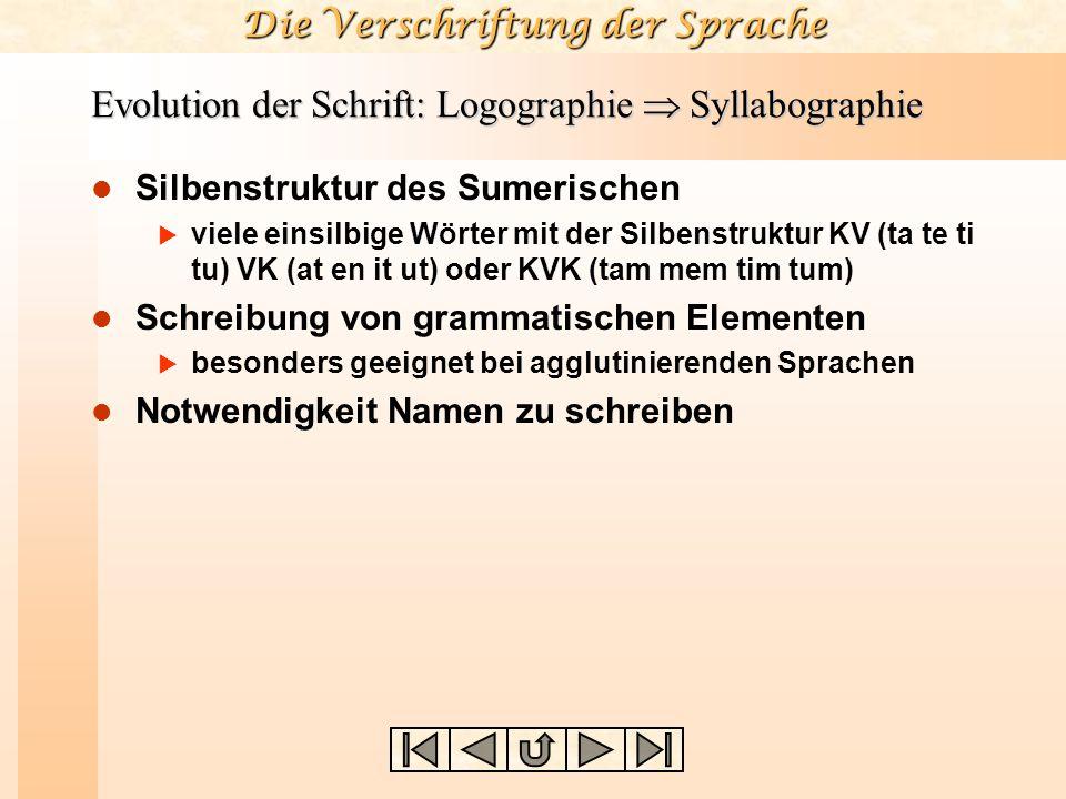 Die Verschriftung der Sprache Evolution der Schrift: Logographie  Syllabographie Silbenstruktur des Sumerischen  viele einsilbige Wörter mit der Sil