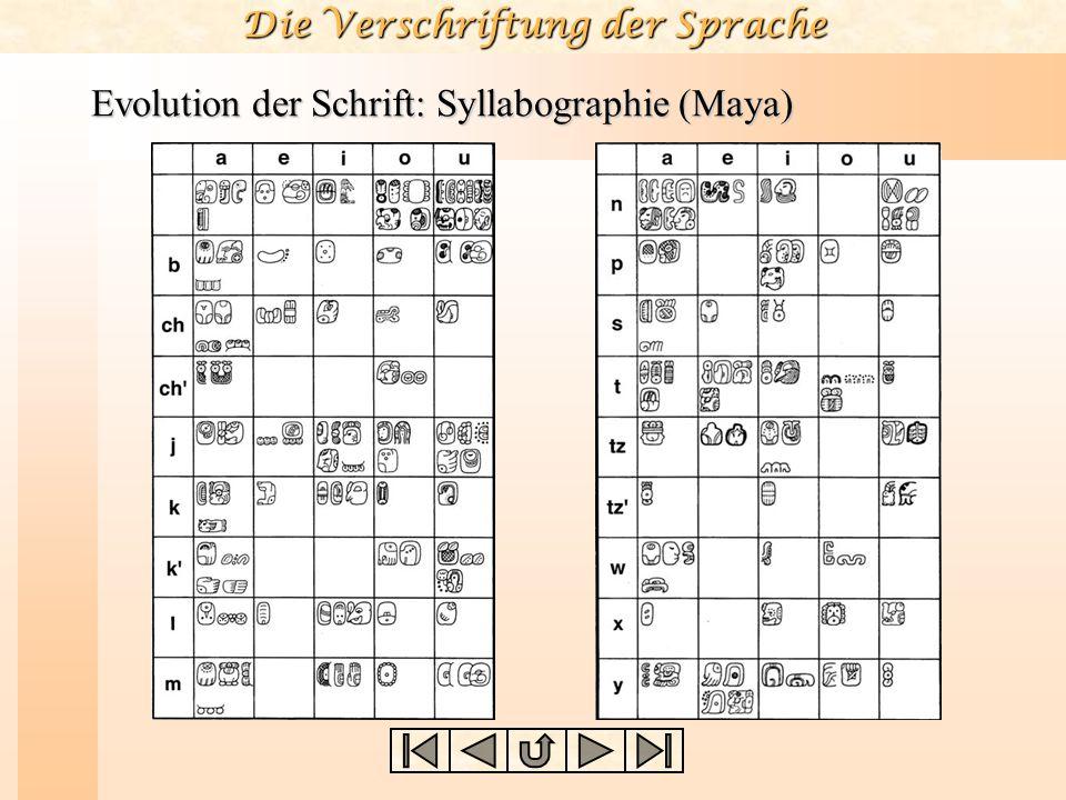 Die Verschriftung der Sprache Evolution der Schrift: Syllabographie (Maya)