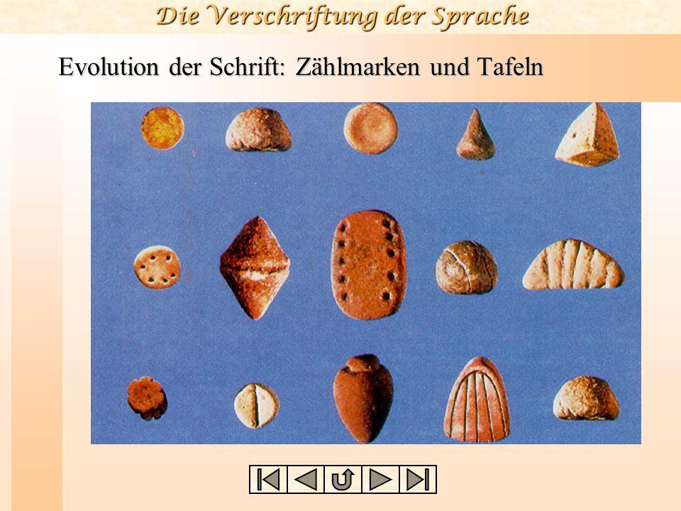 Die Verschriftung der Sprache Evolution der Schrift: Zählmarken und Tafeln