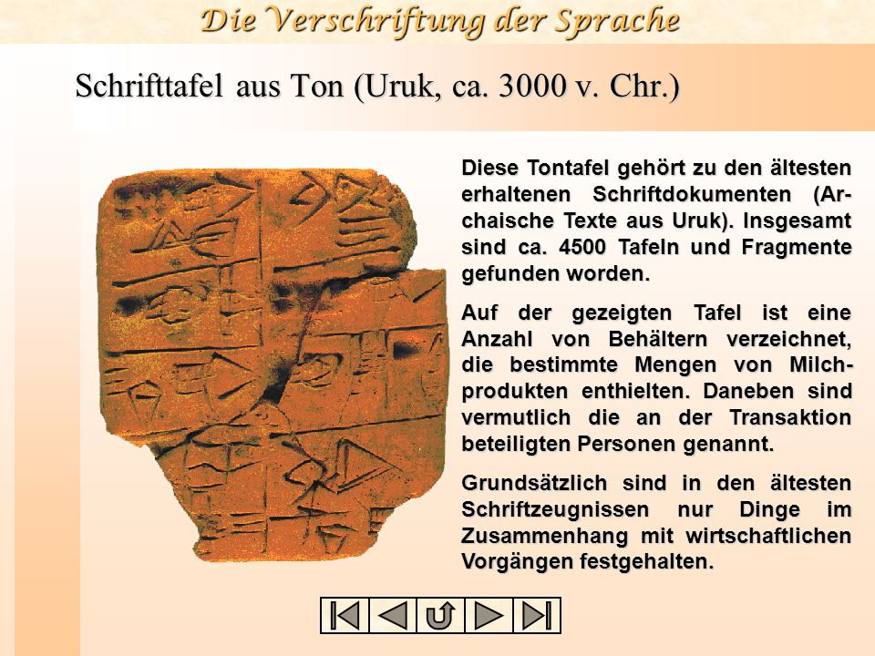 Die Verschriftung der Sprache Schrifttafel aus Ton (Uruk, ca. 3000 v. Chr.) Diese Tontafel gehört zu den ältesten erhaltenen Schriftdokumenten (Ar- ch