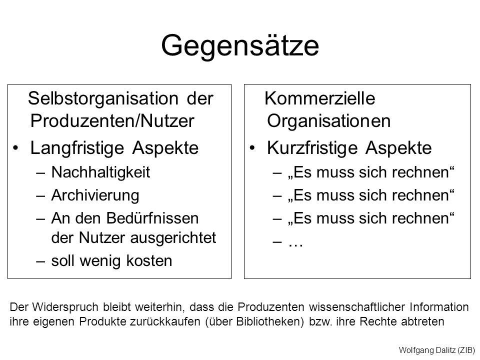"""Wolfgang Dalitz (ZIB) Gegensätze Selbstorganisation der Produzenten/Nutzer Langfristige Aspekte –Nachhaltigkeit –Archivierung –An den Bedürfnissen der Nutzer ausgerichtet –soll wenig kosten Kommerzielle Organisationen Kurzfristige Aspekte –""""Es muss sich rechnen –… Der Widerspruch bleibt weiterhin, dass die Produzenten wissenschaftlicher Information ihre eigenen Produkte zurückkaufen (über Bibliotheken) bzw."""