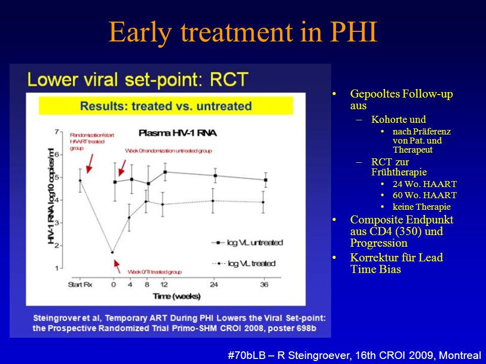Early treatment in PHI Gepooltes Follow-up aus –Kohorte und nach Präferenz von Pat. und Therapeut –RCT zur Frühtherapie 24 Wo. HAART 60 Wo. HAART kein