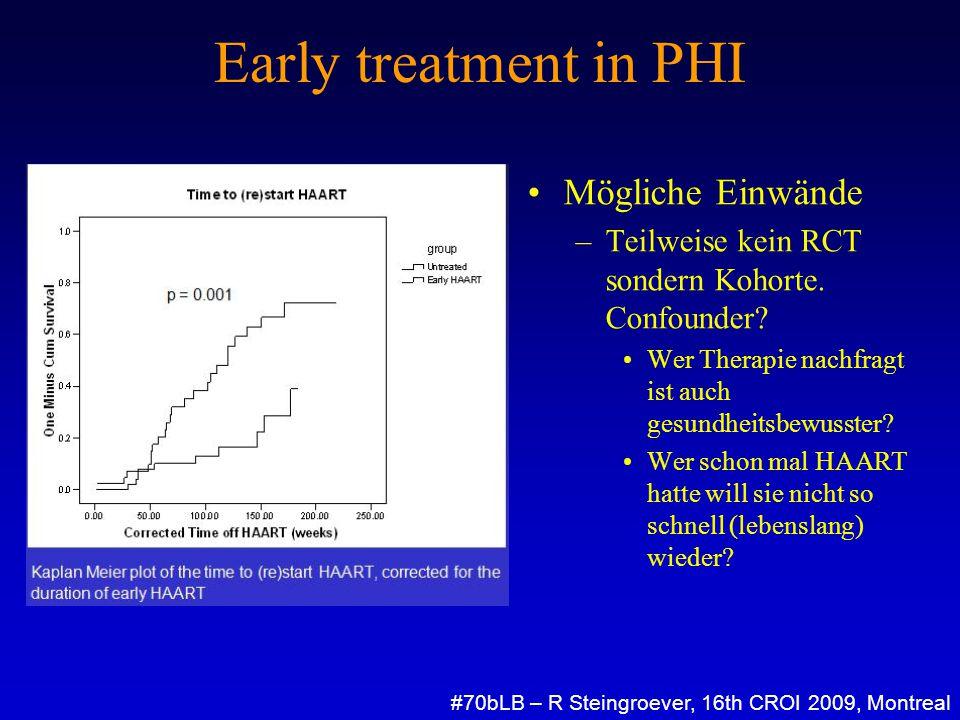 Early treatment in PHI Mögliche Einwände –Teilweise kein RCT sondern Kohorte. Confounder? Wer Therapie nachfragt ist auch gesundheitsbewusster? Wer sc
