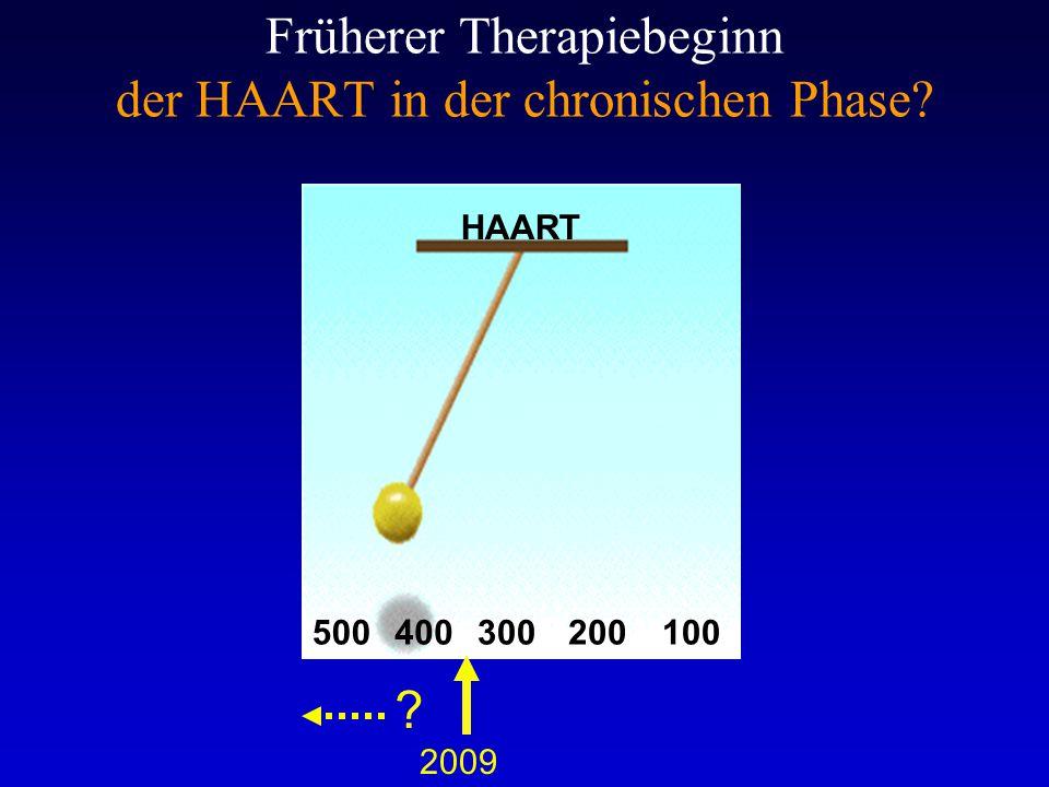 Früherer Therapiebeginn der HAART in der chronischen Phase? HAART 500400200100300 2009 ?