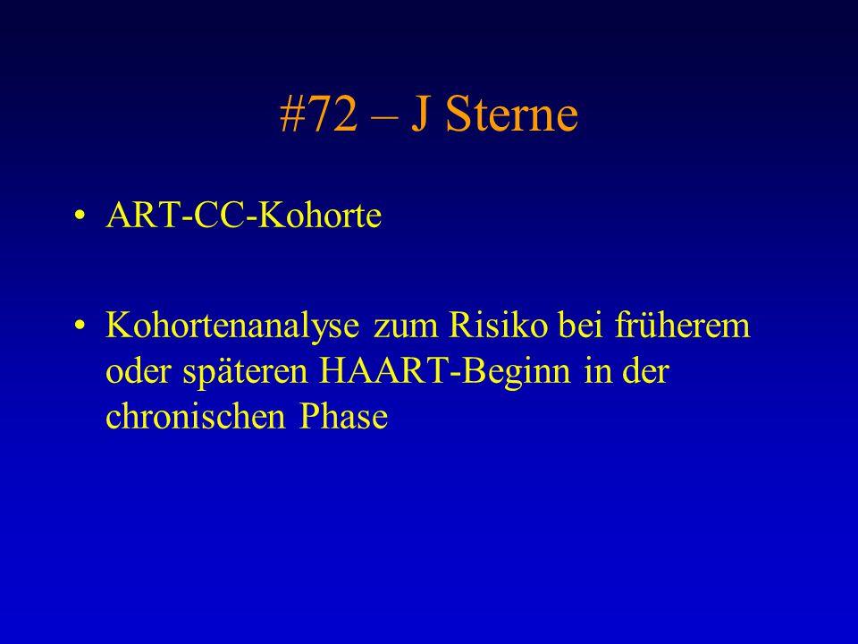 #72 – J Sterne ART-CC-Kohorte Kohortenanalyse zum Risiko bei früherem oder späteren HAART-Beginn in der chronischen Phase