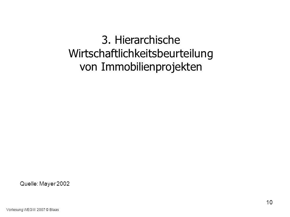 Vorlesung WEGW 2007 © Blaas 10 3. Hierarchische Wirtschaftlichkeitsbeurteilung von Immobilienprojekten Quelle: Mayer 2002