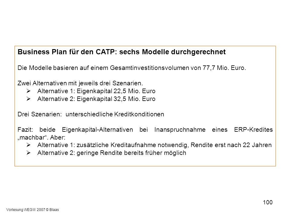 Vorlesung WEGW 2007 © Blaas 100 Business Plan für den CATP: sechs Modelle durchgerechnet Die Modelle basieren auf einem Gesamtinvestitionsvolumen von