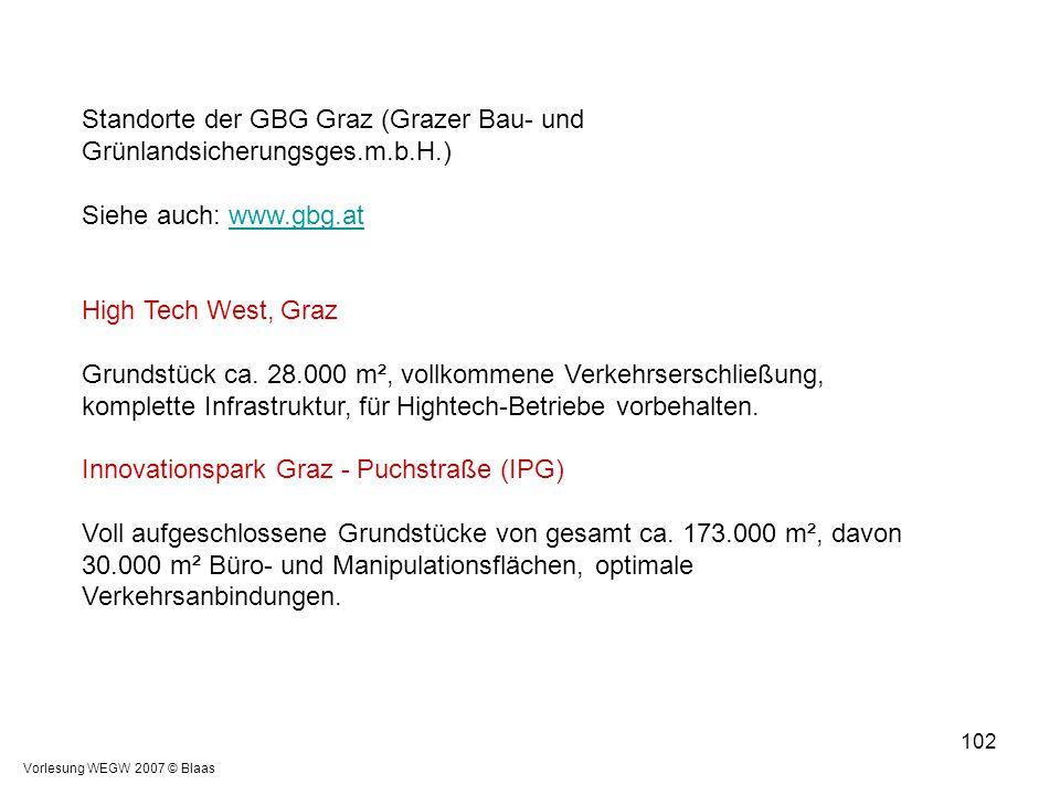 Vorlesung WEGW 2007 © Blaas 102 Standorte der GBG Graz (Grazer Bau- und Grünlandsicherungsges.m.b.H.) Siehe auch: www.gbg.atwww.gbg.at High Tech West,