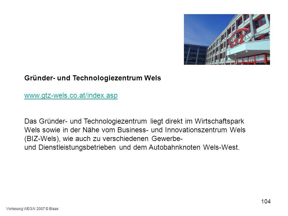 Vorlesung WEGW 2007 © Blaas 104 Gründer- und Technologiezentrum Wels www.gtz-wels.co.at/index.asp Das Gründer- und Technologiezentrum liegt direkt im