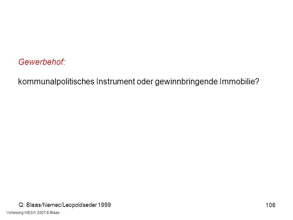 Vorlesung WEGW 2007 © Blaas 106 Gewerbehof: kommunalpolitisches Instrument oder gewinnbringende Immobilie? Q: Blaas/Nemec/Leopoldseder 1999