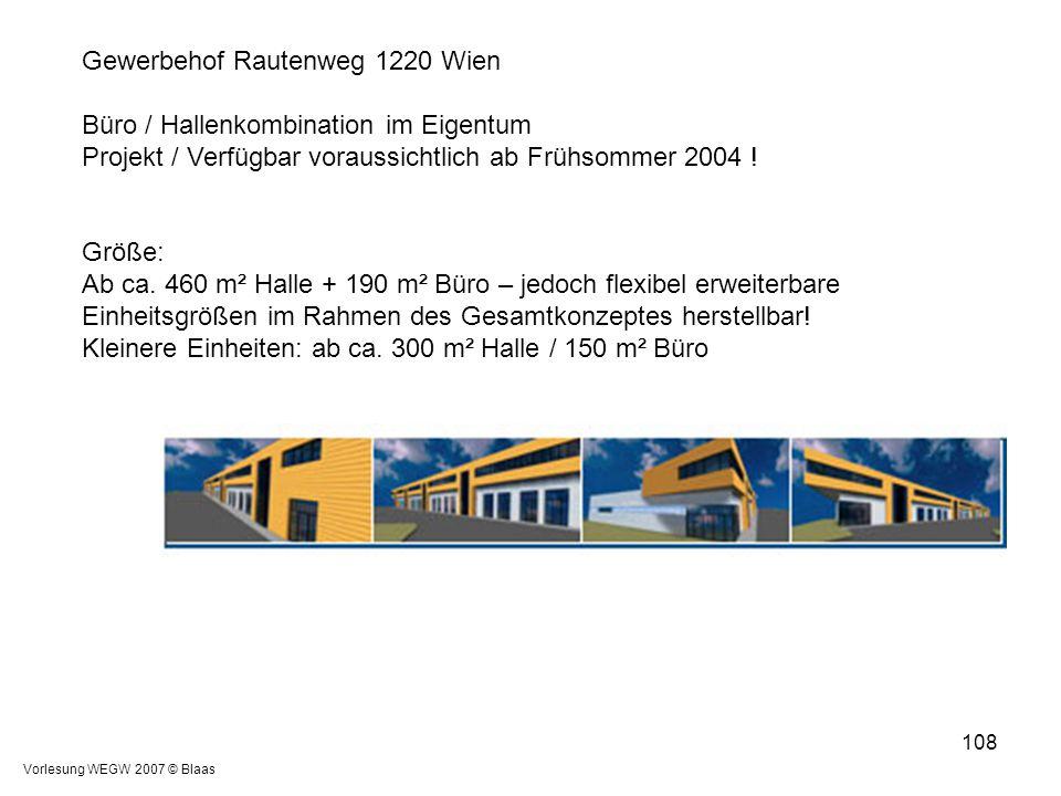 Vorlesung WEGW 2007 © Blaas 108 Gewerbehof Rautenweg 1220 Wien Büro / Hallenkombination im Eigentum Projekt / Verfügbar voraussichtlich ab Frühsommer