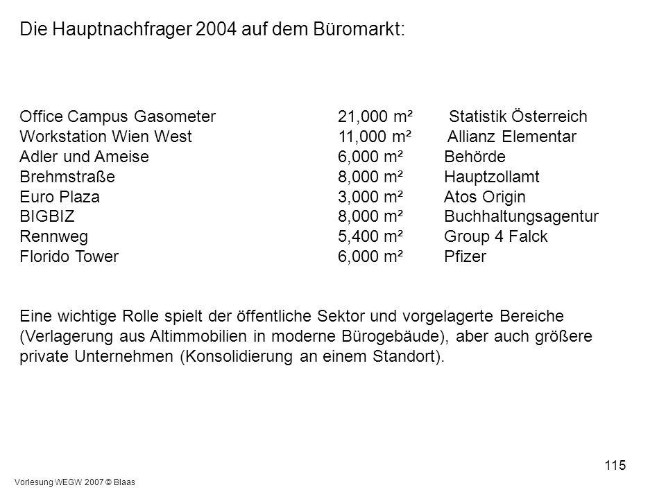 Vorlesung WEGW 2007 © Blaas 115 Die Hauptnachfrager 2004 auf dem Büromarkt: Office Campus Gasometer 21,000 m² Statistik Österreich Workstation Wien We
