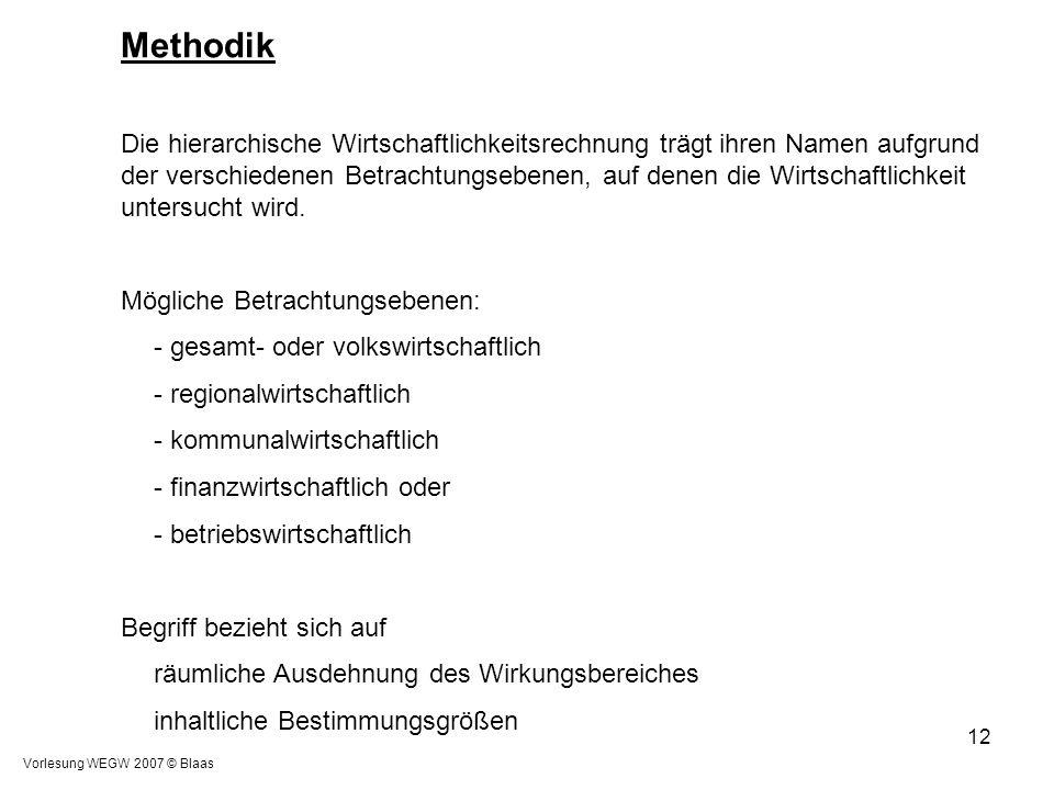 Vorlesung WEGW 2007 © Blaas 12 Methodik Die hierarchische Wirtschaftlichkeitsrechnung trägt ihren Namen aufgrund der verschiedenen Betrachtungsebenen,
