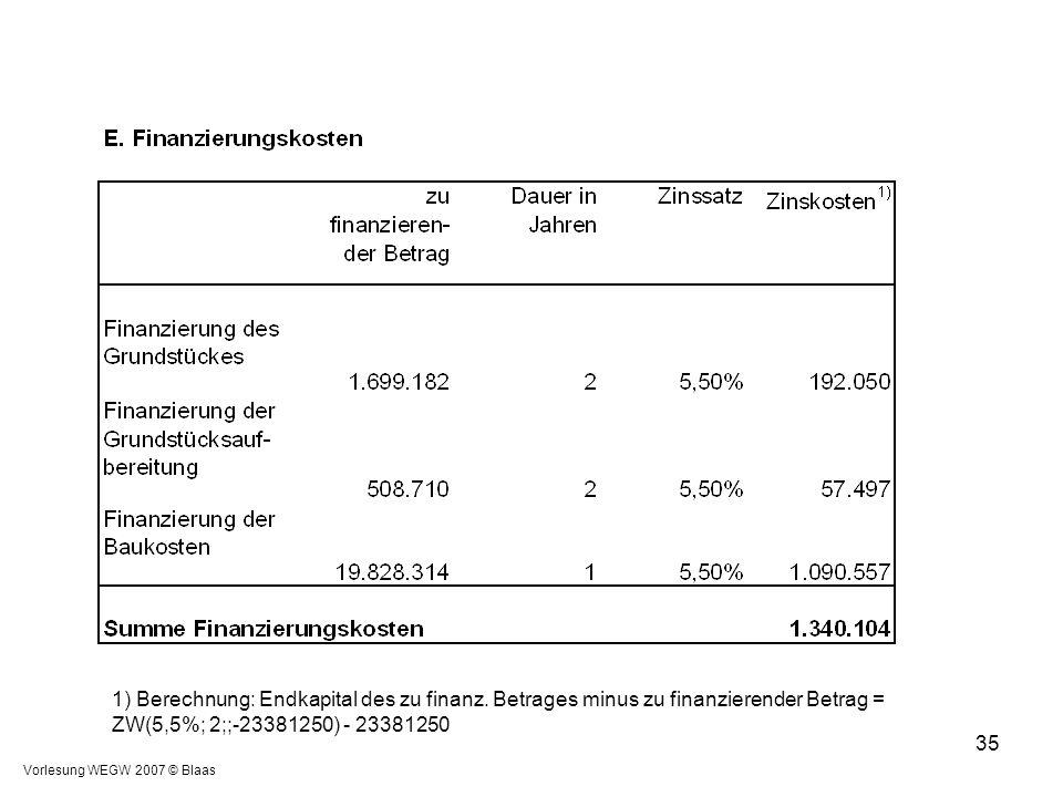 Vorlesung WEGW 2007 © Blaas 35 1) Berechnung: Endkapital des zu finanz. Betrages minus zu finanzierender Betrag = ZW(5,5%; 2;;-23381250) - 23381250