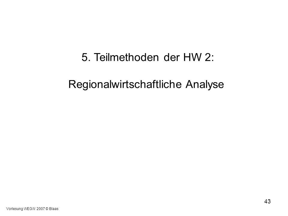 Vorlesung WEGW 2007 © Blaas 43 5. Teilmethoden der HW 2: Regionalwirtschaftliche Analyse