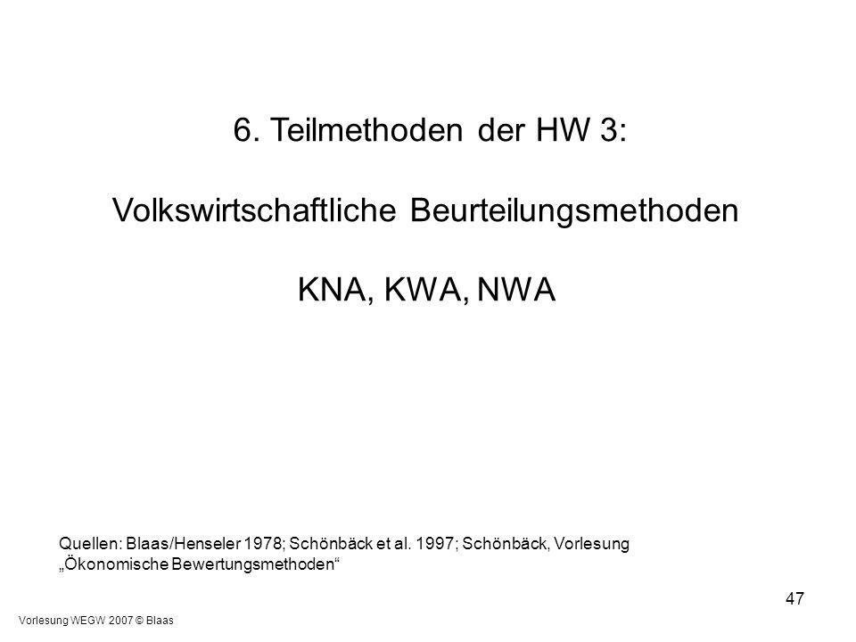 """Vorlesung WEGW 2007 © Blaas 47 Quellen: Blaas/Henseler 1978; Schönbäck et al. 1997; Schönbäck, Vorlesung """"Ökonomische Bewertungsmethoden"""" 6. Teilmetho"""