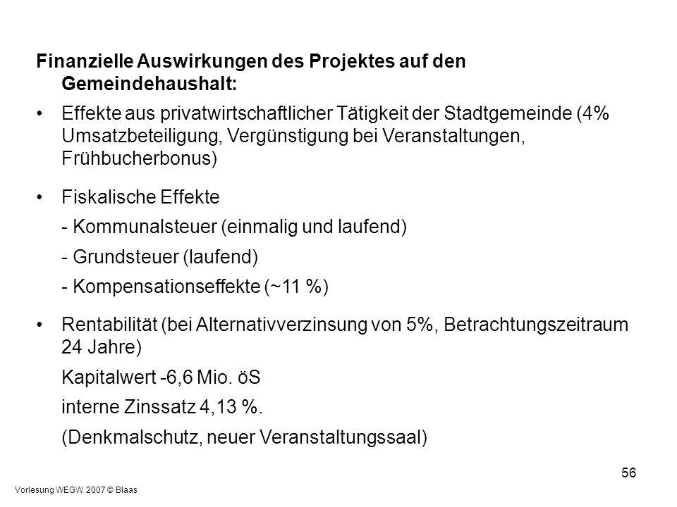 Vorlesung WEGW 2007 © Blaas 56 Finanzielle Auswirkungen des Projektes auf den Gemeindehaushalt: Effekte aus privatwirtschaftlicher Tätigkeit der Stadt