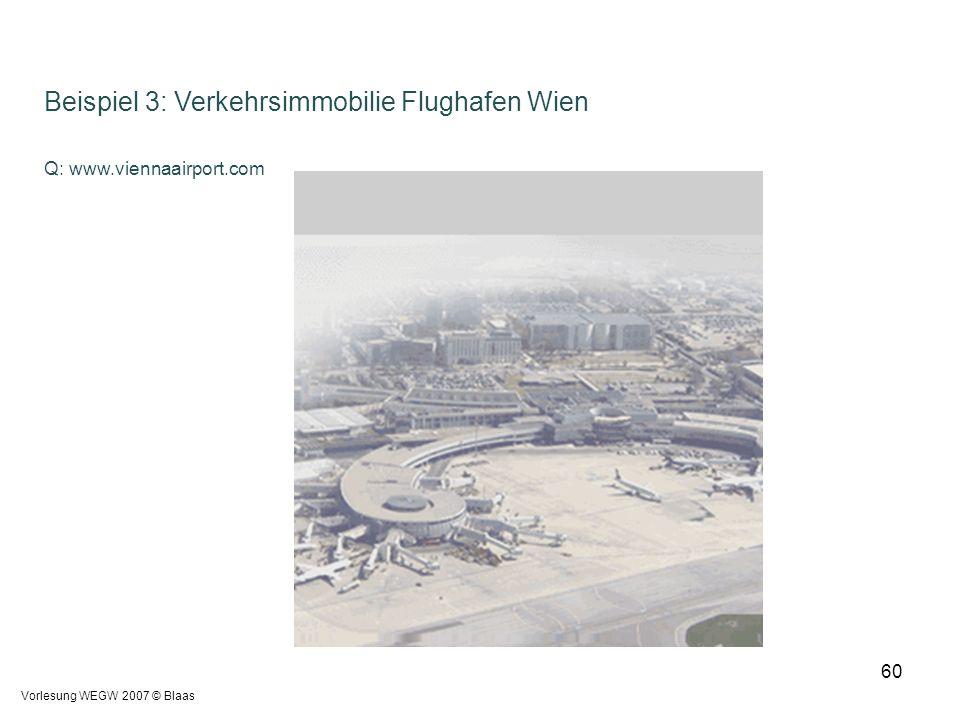 Vorlesung WEGW 2007 © Blaas 60 Beispiel 3: Verkehrsimmobilie Flughafen Wien Q: www.viennaairport.com