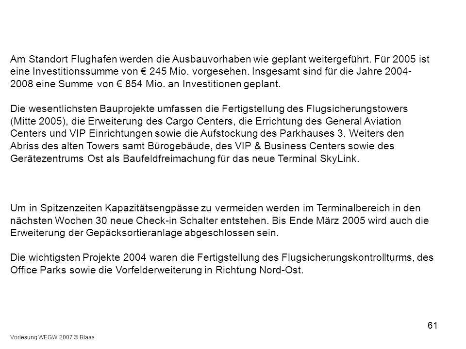 Vorlesung WEGW 2007 © Blaas 61 Am Standort Flughafen werden die Ausbauvorhaben wie geplant weitergeführt. Für 2005 ist eine Investitionssumme von € 24
