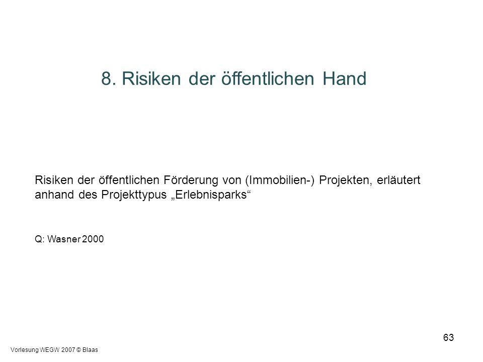 Vorlesung WEGW 2007 © Blaas 63 8. Risiken der öffentlichen Hand Risiken der öffentlichen Förderung von (Immobilien-) Projekten, erläutert anhand des P