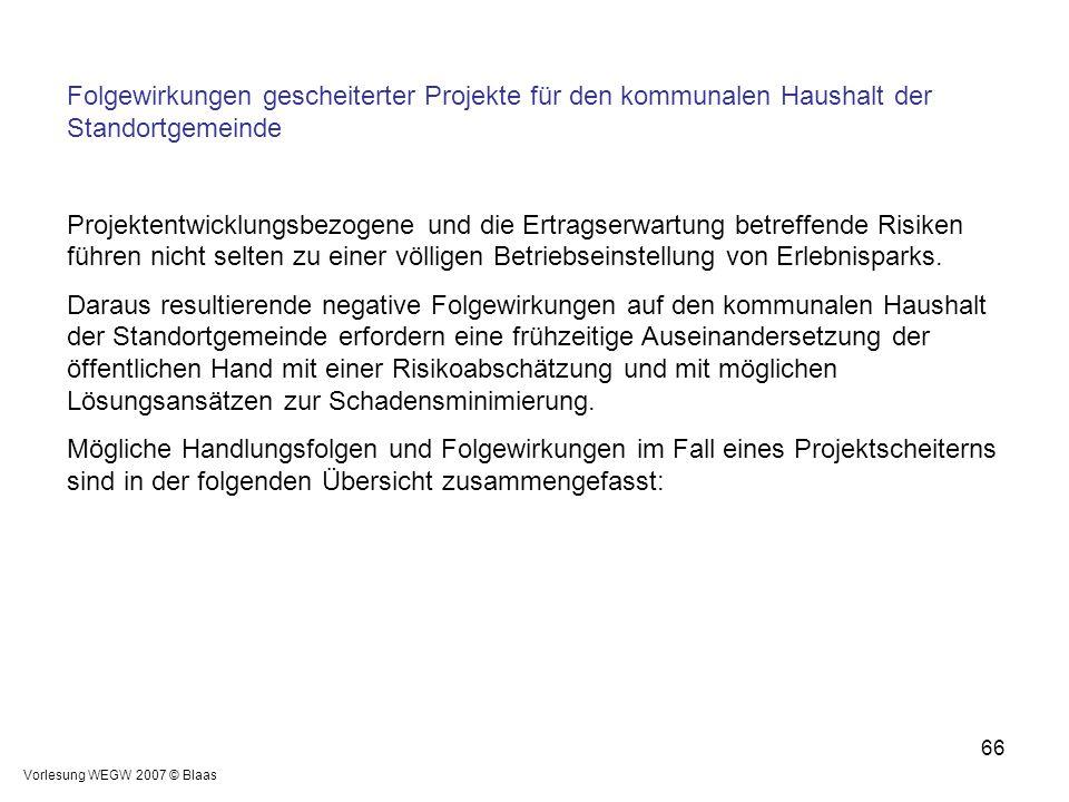 Vorlesung WEGW 2007 © Blaas 66 Folgewirkungen gescheiterter Projekte für den kommunalen Haushalt der Standortgemeinde Projektentwicklungsbezogene und