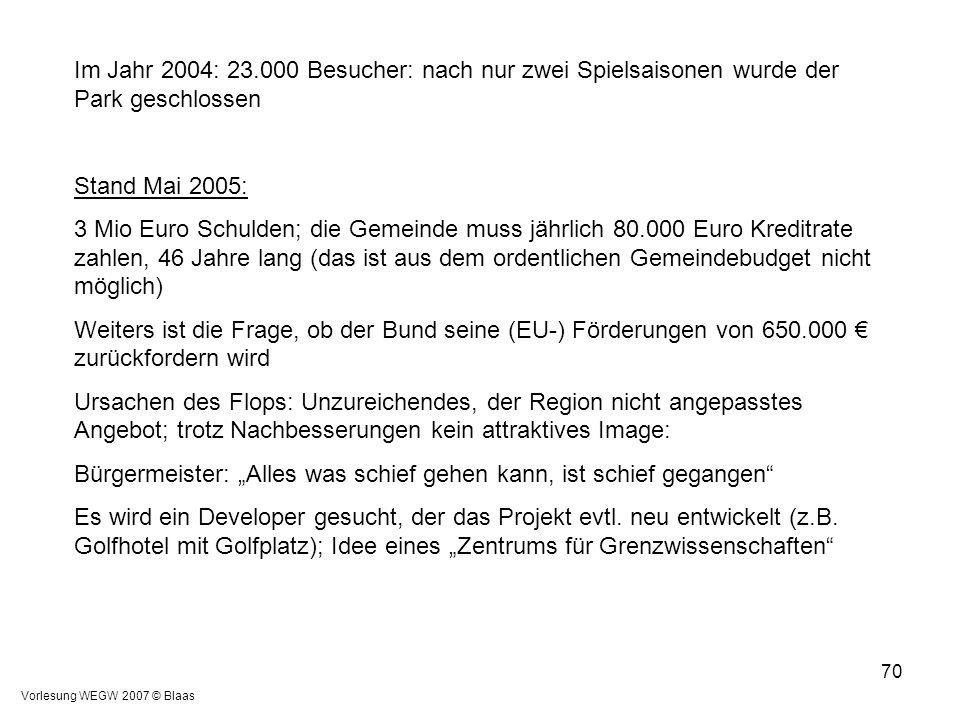 Vorlesung WEGW 2007 © Blaas 70 Im Jahr 2004: 23.000 Besucher: nach nur zwei Spielsaisonen wurde der Park geschlossen Stand Mai 2005: 3 Mio Euro Schuld