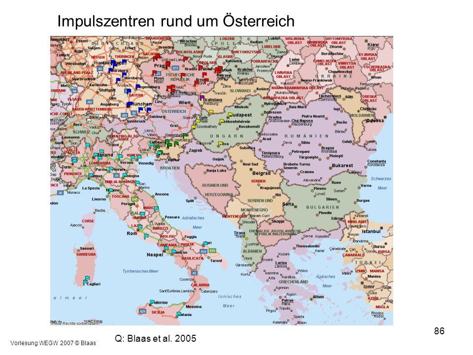 Vorlesung WEGW 2007 © Blaas 86 Q: Blaas et al. 2005 Impulszentren rund um Österreich