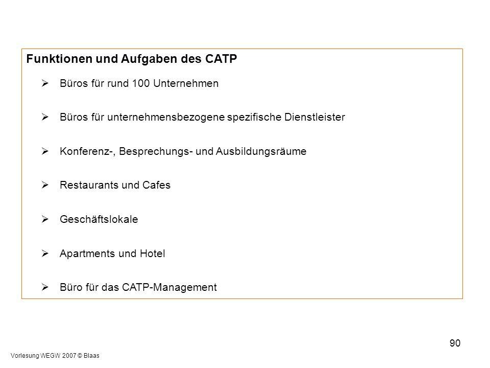 Vorlesung WEGW 2007 © Blaas 90 Funktionen und Aufgaben des CATP  Büros für rund 100 Unternehmen  Büros für unternehmensbezogene spezifische Dienstle