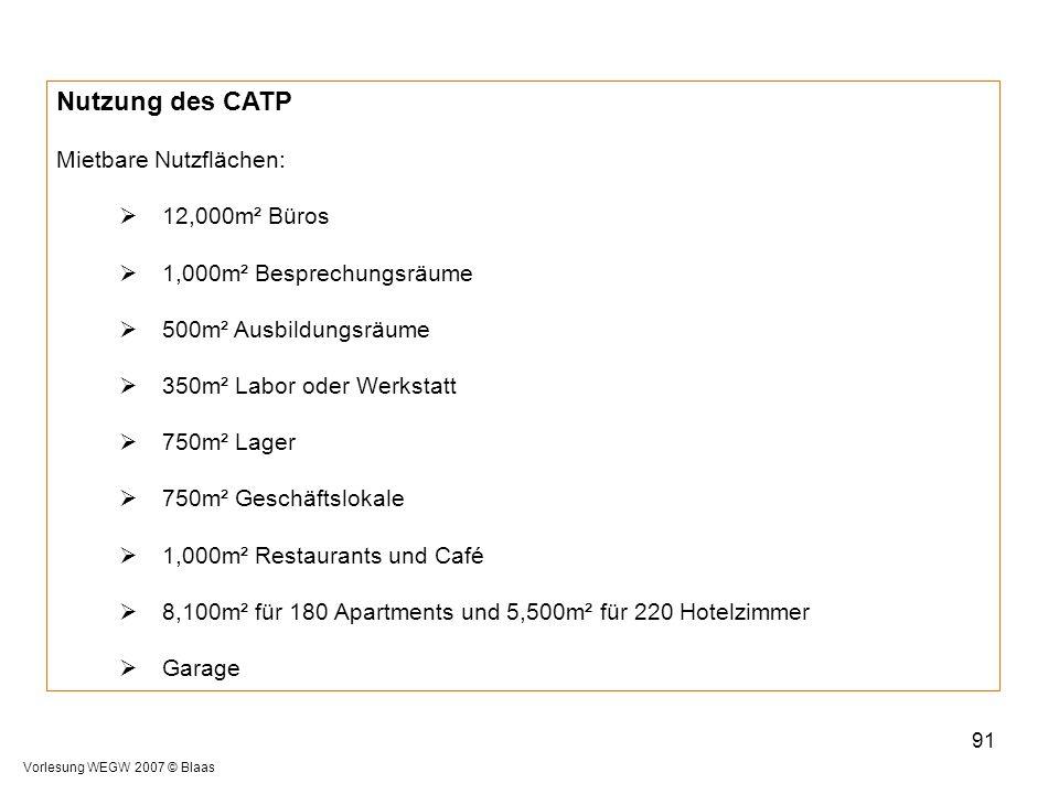 Vorlesung WEGW 2007 © Blaas 91 Nutzung des CATP Mietbare Nutzflächen:  12,000m² Büros  1,000m² Besprechungsräume  500m² Ausbildungsräume  350m² La