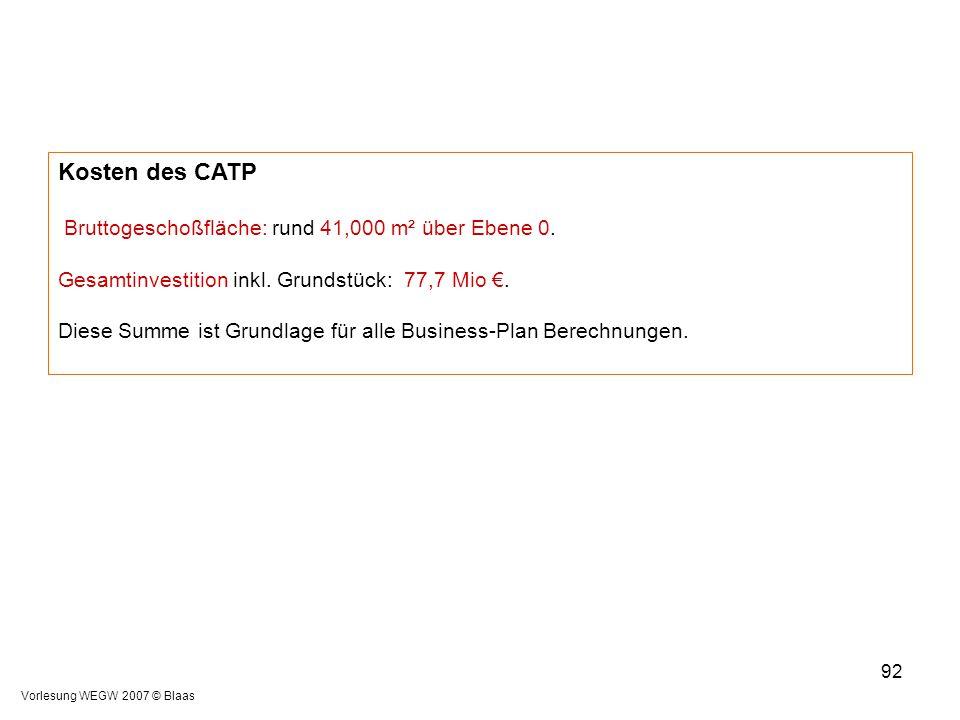Vorlesung WEGW 2007 © Blaas 92 Kosten des CATP Bruttogeschoßfläche: rund 41,000 m² über Ebene 0. Gesamtinvestition inkl. Grundstück: 77,7 Mio €. Diese