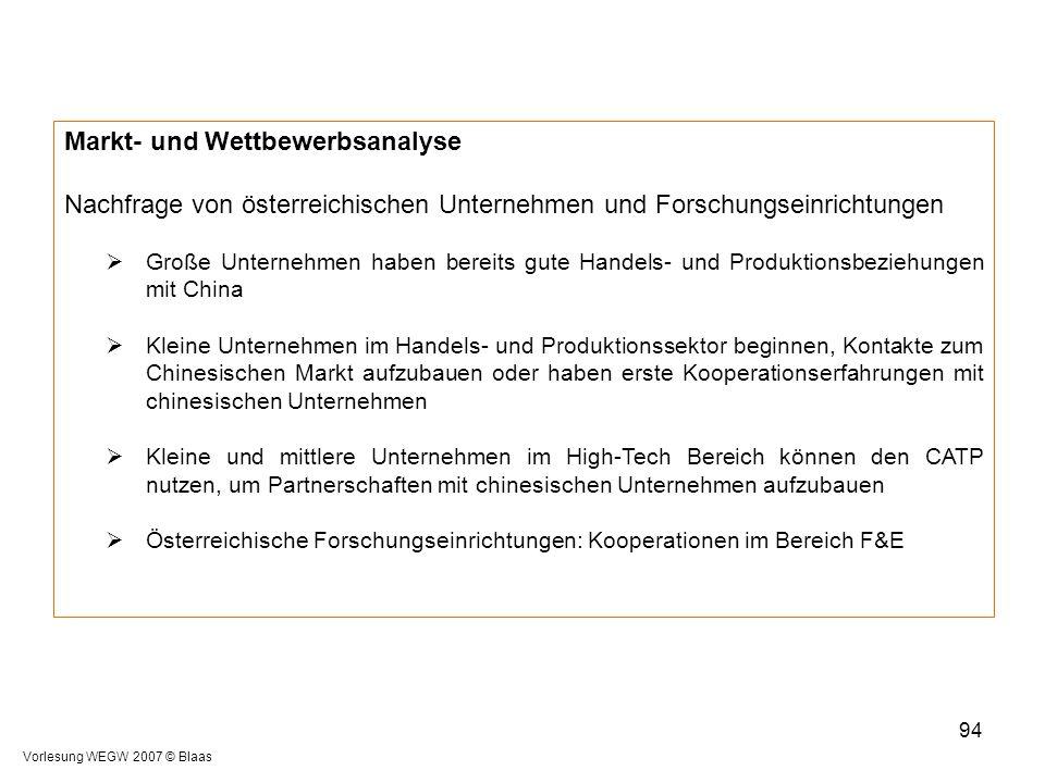 Vorlesung WEGW 2007 © Blaas 94 Markt- und Wettbewerbsanalyse Nachfrage von österreichischen Unternehmen und Forschungseinrichtungen  Große Unternehme