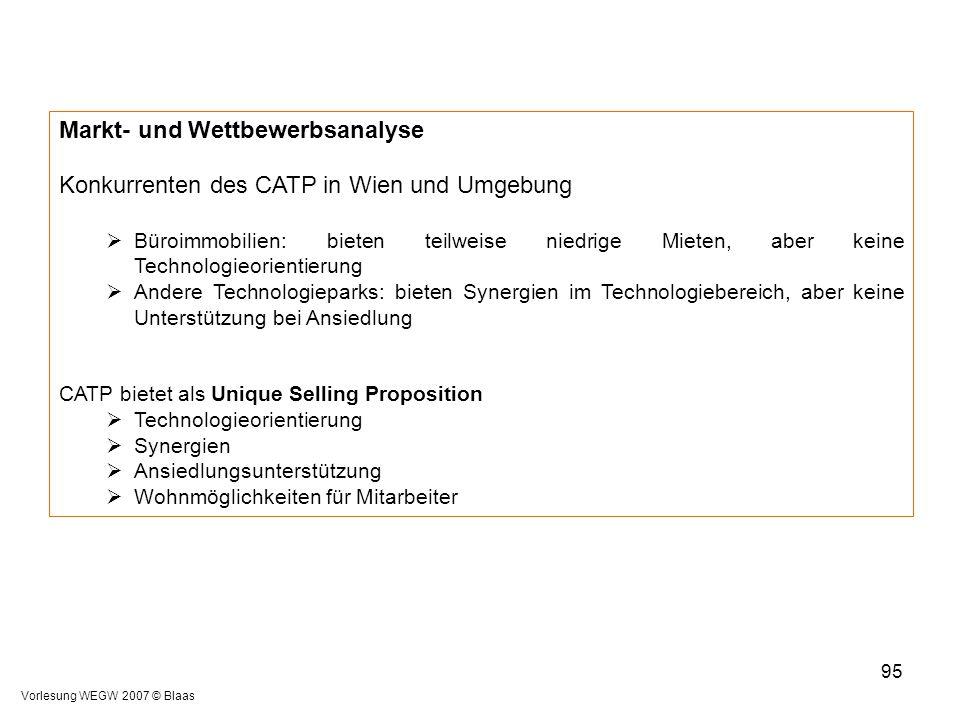 Vorlesung WEGW 2007 © Blaas 95 Markt- und Wettbewerbsanalyse Konkurrenten des CATP in Wien und Umgebung  Büroimmobilien: bieten teilweise niedrige Mi
