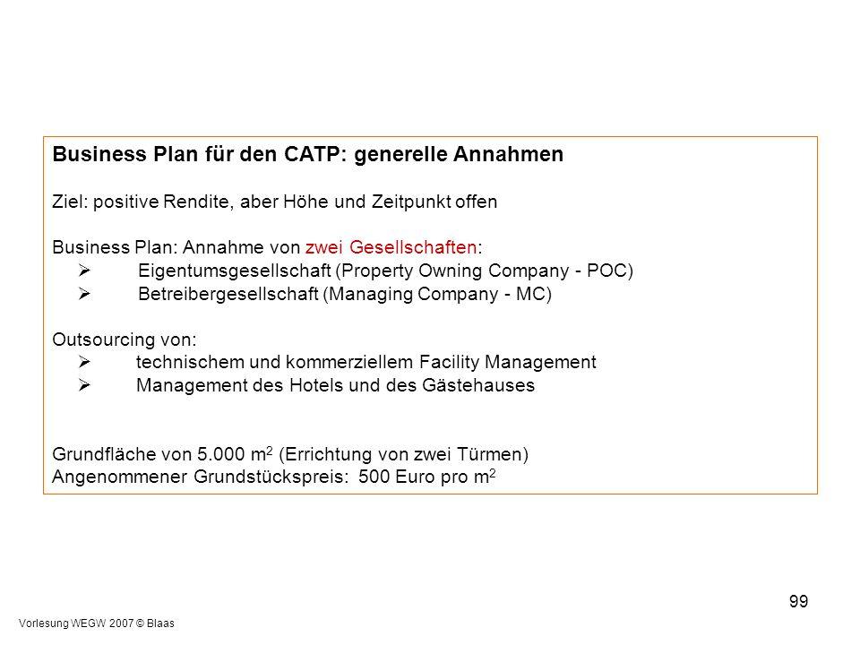 Vorlesung WEGW 2007 © Blaas 99 Business Plan für den CATP: generelle Annahmen Ziel: positive Rendite, aber Höhe und Zeitpunkt offen Business Plan: Ann