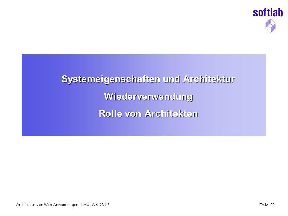 Architektur von Web-Anwendungen, LMU, WS-01/02 Folie 64 Anforderungen an Anwendungen Anwendungssystem Funktionale Anforderungen Funktionale Anforderungen System Eigenschaften System Eigenschaften
