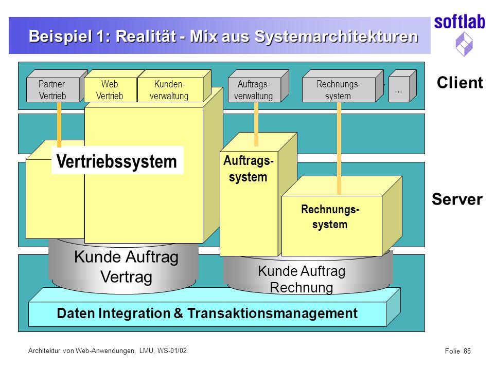 Architektur von Web-Anwendungen, LMU, WS-01/02 Folie 85 Beispiel 1: Realität - Mix aus Systemarchitekturen View Layer Partner Vertrieb Auftrags- verwaltung Rechnungs- system...