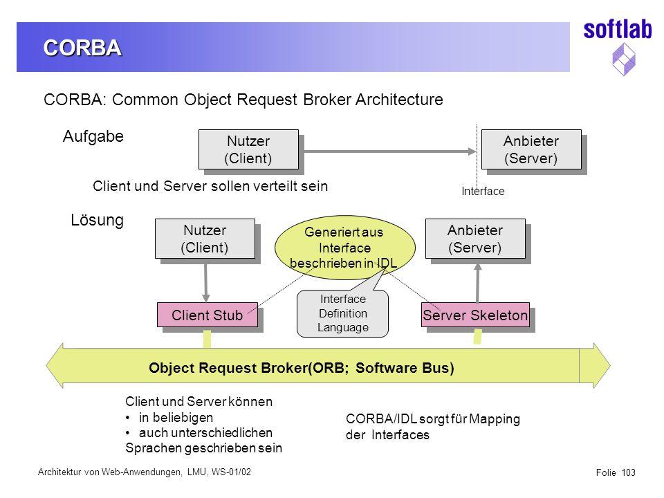 Architektur von Web-Anwendungen, LMU, WS-01/02 Folie 103 CORBA CORBA: Common Object Request Broker Architecture Aufgabe Nutzer (Client) Nutzer (Client) Anbieter (Server) Anbieter (Server) Interface Client und Server sollen verteilt sein Lösung Nutzer (Client) Nutzer (Client) Anbieter (Server) Anbieter (Server) Client Stub Server Skeleton Object Request Broker(ORB; Software Bus) Generiert aus Interface beschrieben in IDL Interface Definition Language Client und Server können in beliebigen auch unterschiedlichen Sprachen geschrieben sein CORBA/IDL sorgt für Mapping der Interfaces