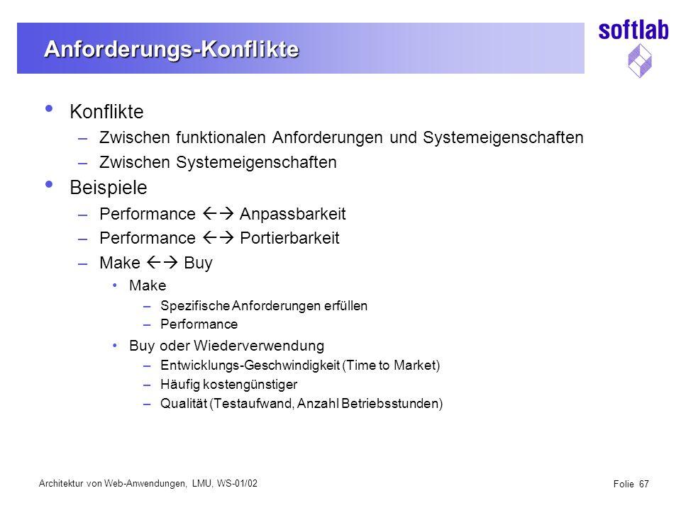 Architektur von Web-Anwendungen, LMU, WS-01/02 Folie 98 Kommunikation zwischen Anwendungskomponenten