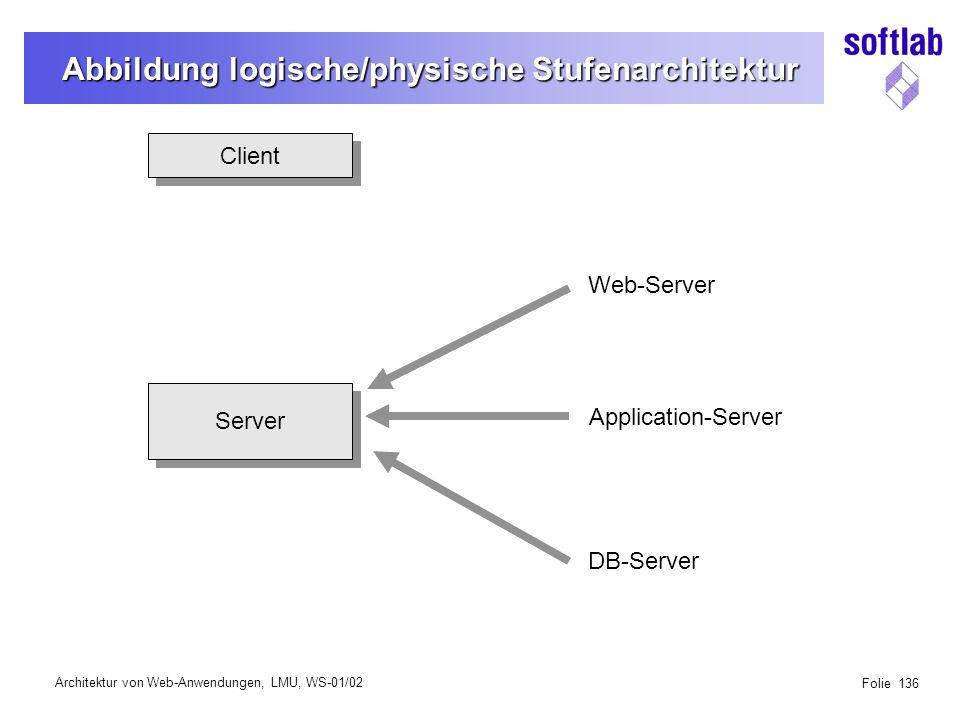 Architektur von Web-Anwendungen, LMU, WS-01/02 Folie 136 Abbildung logische/physische Stufenarchitektur Client Server Web-Server Application-Server DB-Server