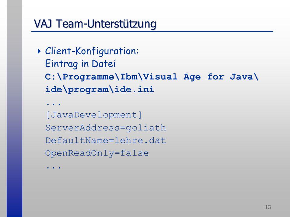13 VAJ Team-Unterstützung  Client-Konfiguration: Eintrag in Datei C:\Programme\Ibm\Visual Age for Java\ ide\program\ide.ini... [JavaDevelopment] Serv
