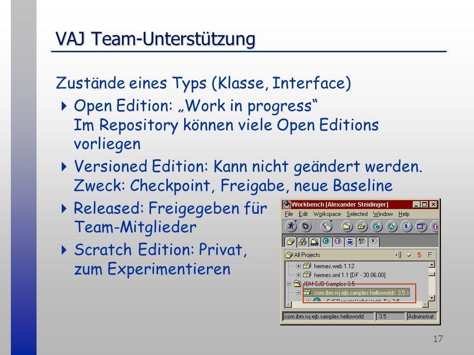 """17 VAJ Team-Unterstützung Zustände eines Typs (Klasse, Interface)  Open Edition: """"Work in progress"""" Im Repository können viele Open Editions vorliege"""