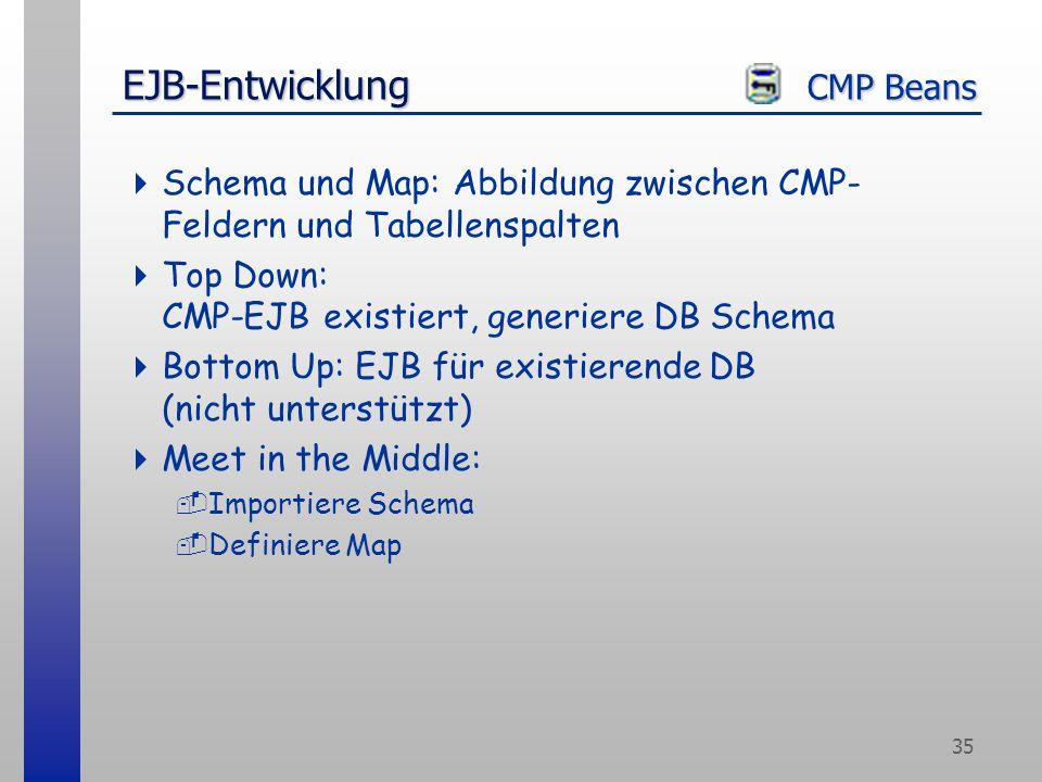 35 EJB-Entwicklung CMP Beans  Schema und Map: Abbildung zwischen CMP- Feldern und Tabellenspalten  Top Down: CMP-EJB existiert, generiere DB Schema  Bottom Up: EJB für existierende DB (nicht unterstützt)  Meet in the Middle: -Importiere Schema -Definiere Map