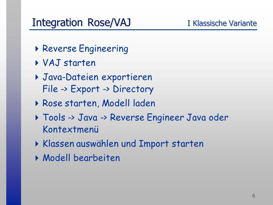 6 Integration Rose/VAJ I Klassische Variante  Reverse Engineering  VAJ starten  Java-Dateien exportieren File -> Export -> Directory  Rose starten