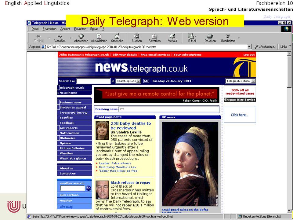 English Applied Linguistics Sprach- und Literaturwissenschaften Fachbereich 10 Daily Telegraph Daily Telegraph: Web version